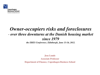 Jens Lunde Associate Professor Department of  Finance, Copenhagen Business School