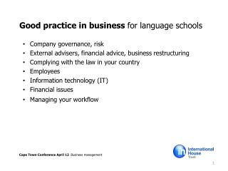 Good practice in business  for language schools