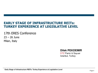 EARLY STAGE OF INFRASTRUCTURE REITs: TURKEY EXPERIENCE AT LEGISLATIVE LEVEL