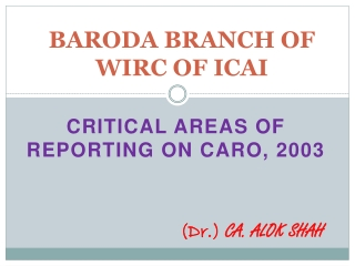 BARODA BRANCH OF WIRC OF ICAI