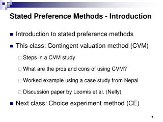 Stated Preference Methods - Introduction