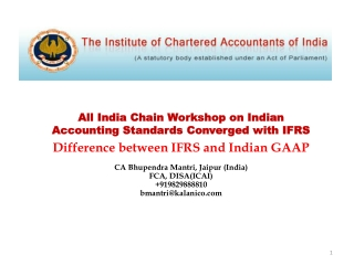 All India Chain Workshop on Indian Accounting Standards Converged with IFRS Difference between IFRS and Indian GAAP CA