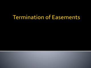 Termination of Easements