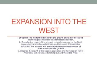 Expansion  into the  West