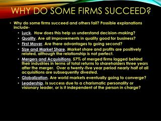 Why do some firms succeed?