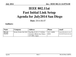 IEEE 802.11ai Fast Initial Link Setup  Agenda for  July2014 San Diego