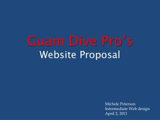 Guam Dive Pro's Website Proposal