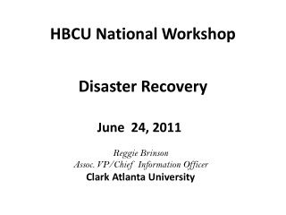 HBCU National Workshop