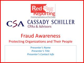 Fraud Awareness Protecting Organizations and Their People