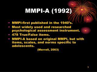 mmpi-a 1992