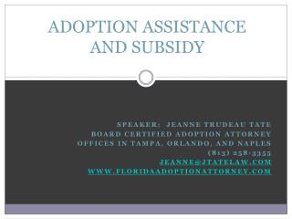 ADOPTION ASSISTANCE AND SUBSIDY