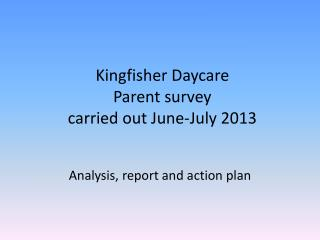 Kingfisher Daycare  Parent survey   carried out June-July 2013