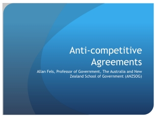Anti-competitive Agreements