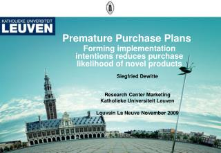Premature  Purchase  Plans