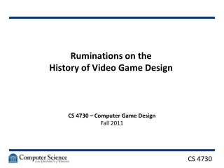 Ruminations on the  History of Video Game Design