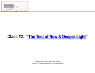 Class 2 - The Test of New Light