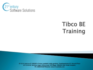 Tibco BE Training| Tibco BE Online Training