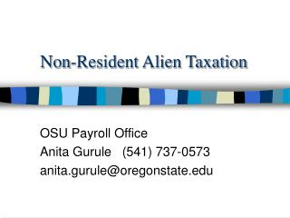 non-resident alien taxation