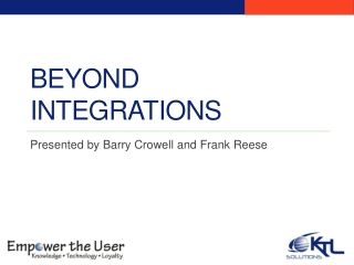 Beyond Integrations