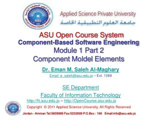 Component-Based Software Engineering Module 1 Part 2 Component  Moldel  Elements