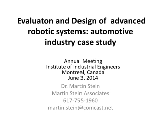 Evaluaton  and Design  of   advanced  robotic systems:  automotive industry case study