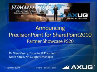 Announcing PrecisionPoint for SharePoint2010 Partner Showcase PS20