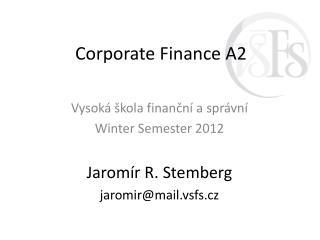 Corporate  Finance A2