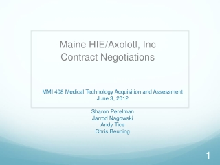 MMI 408  Medical Technology Acquisition and Assessment  June 3, 2012 Sharon Perelman Jarrod Nagowski Andy Tice Chris Be