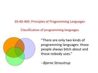 03-60-440: Principles of Programming Languages Classification of programming languages