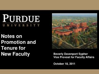 Notes on Promotion and Tenure for New Faculty