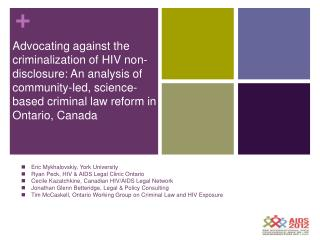 Eric Mykhalovskiy, Associate Professor, York University ericm@yorku.ca