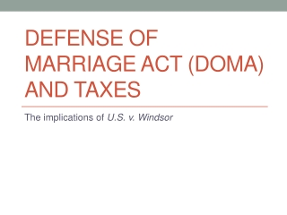 Defense of Marriage Act (DOMA) and Taxes