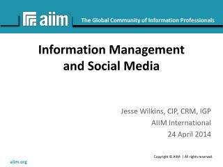 Information Management and Social Media