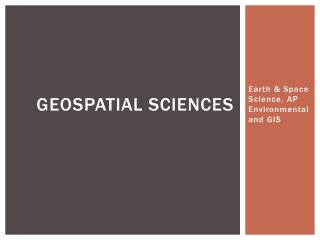 GeoSpatial  Sciences