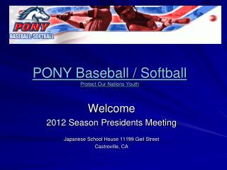 PONY Baseball / Softball Protect Our Nations Youth