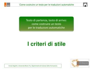 Testo di partenza, testo di arrivo:  come costruire un testo  per le traduzioni automatiche