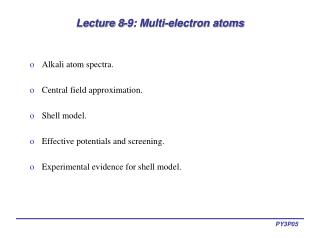 lecture 8-9: multi-electron atoms