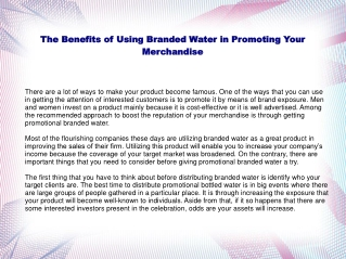 Tips in Using Branded Water as a Marketing Item