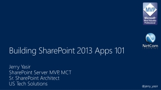 Building SharePoint 2013 Apps 101