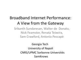 Broadband Internet Performance :  A  View from the Gateway