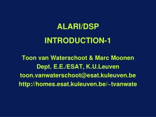 ALARI/DSP INTRODUCTION -1