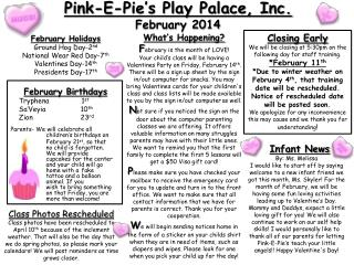 Pink-E-Pie's Play Palace, Inc.  February 2014