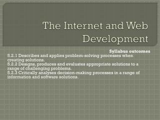 The Internet and Web Development