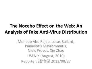 The  Nocebo  Effect on the Web: An  Analysis of Fake  Anti-Virus Distribution