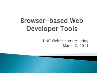 Browser-based Web  Developer  T ools