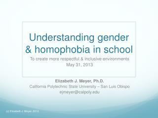 Understanding g ender  & homophobia in school