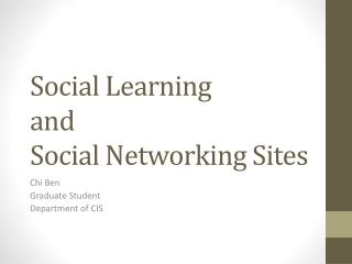 Social Learning  and  Social Networking Sites