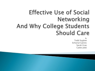 Effective Use of Social Networking And Why College Students Should Care