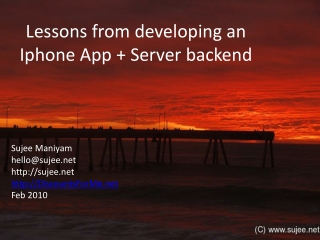 Lessons from developing an Iphone  App + Server backend