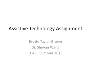 Assistive Technology Assignment